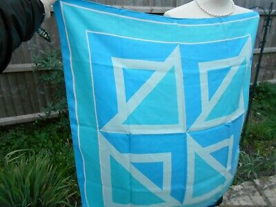 Authentic Turquoise Blue Vintage Richard Allan 100% Silk Scarf 60's Hand Rolled