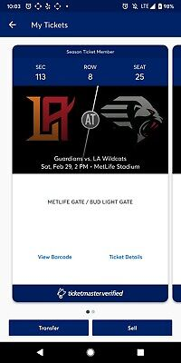 2 EY Coaches Club XFL TIX LA Wildcats vs New York Guardians Metlife Stadium 2/29