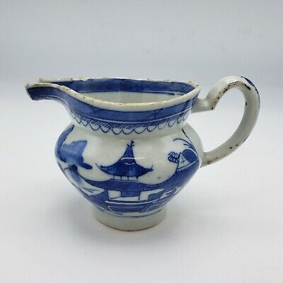 Antique 19th Century Blue and White Chinese Asian Creamer Milk Jug c1810