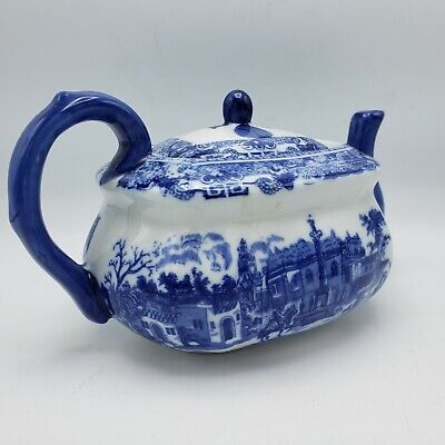 Antique 19th Century Blue and White Chinese Asian Tea Pot w/ Lid