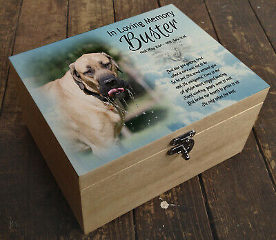 Personalised wooden box, memorial casket urn for cremation ashes,English mastiff