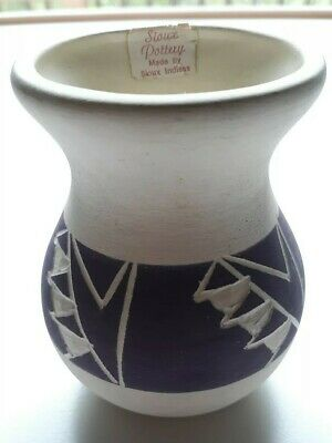 Vintage Native American Indian Pottery Southwest Small Vase Signed Sioux Indians