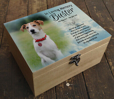 Wooden pine box, memorial casket urn for cremation ashes, Jack Russell dog