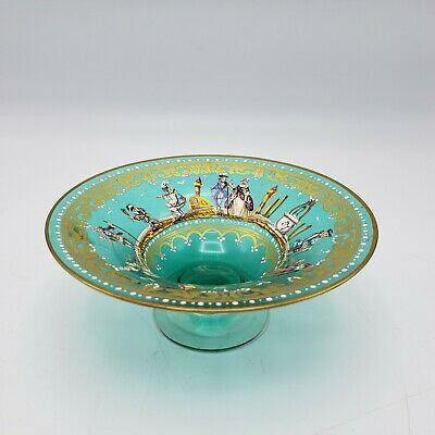 Antique Enamel Murano Glass Low Bowl with Hand Painted Figures