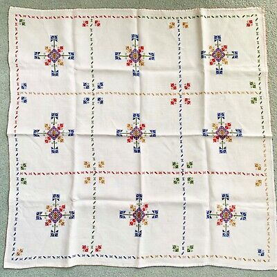 Vintage Swedish Embroidered Linen Square Tablecloth Dutch Scandinavian Folkart