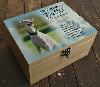 Solid pine wooden memorial box urn casket for cremation ashes, Whippet dog