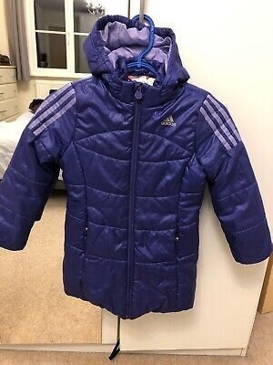 Adidas Girls Puffa Jacket. Age 6/7 Years Purple