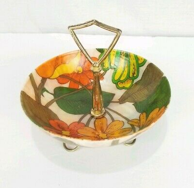 Vintage Mid-Century Fiberglass Floral Candy/Nut Serving Dish Brass Handle