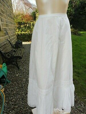 Victorian white cotton petticoat with embroidered and broderie anglaise hem