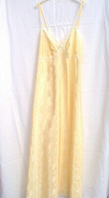 Vtg St Michael Yellow Silky Full Length Nightdress Size 12