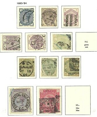 Lot:33751  GB QV  Lilac & Green collection to 1s Missing SG195  SG178 2s6d Lilac