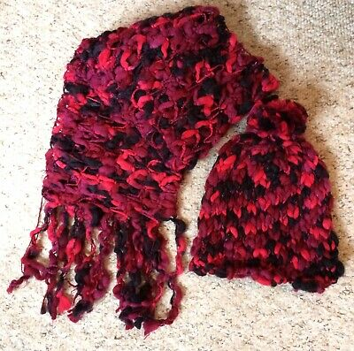 Atmosphere Burgundy Crochet Scarf and Bobble Hat Chunky Knit Autumn Winter