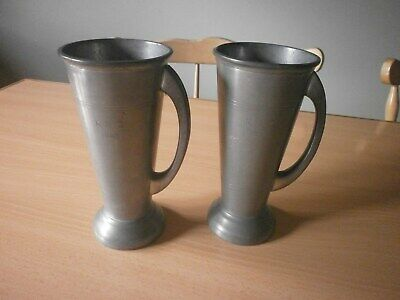 Pair vintage Art Nouveau Pewter Vases / Tankards.
