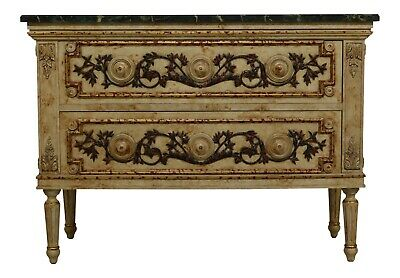 31662EC: Stunning Paint Decorated Faux Marble Top 2 Drawer Italian Commode