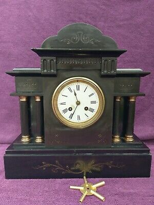 Vintage Antique Victorian French Japy Freres Slate Marble Mantel Clock c1880