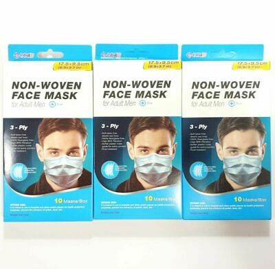 Lot 30 Paraid Face Masks 3-Ply Protection High BFE Filtration, Blue