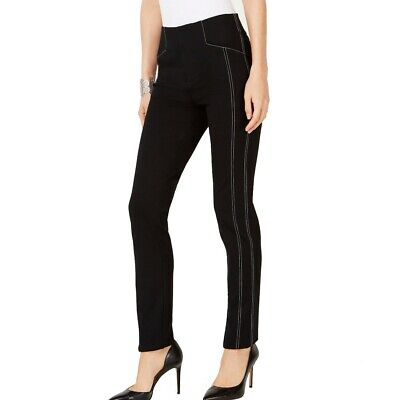 INC NEW Women's Curvy Contrast-stitch Mid Rise Straight-leg Pants TEDO
