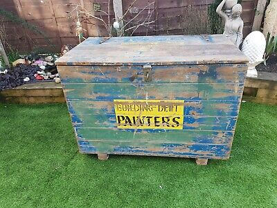 Antique old victorian mill pine chest paint department large