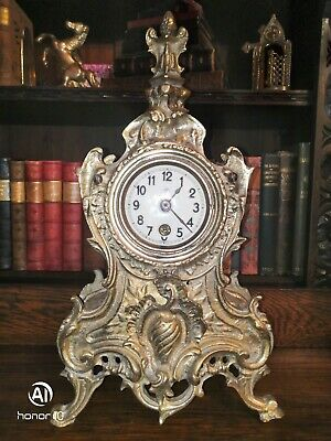 Antique Brass Clock Case with movement for spare or repair