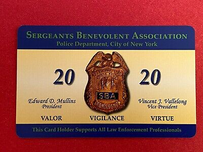 """""""New"""" 100% Authentic """"Signed"""" 2020 Nypd Sergeants Sba Card"""