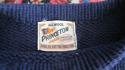 PRINCETON WOOL 1960s Boat Neck Sweater Navy Blue