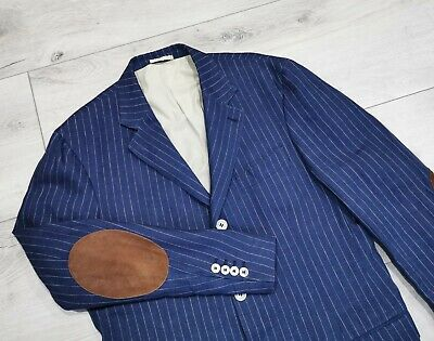 BRUNELLO CUCINELLI Linen Blazer Jacket Patches Striped Mens RRP $4000 Size 52