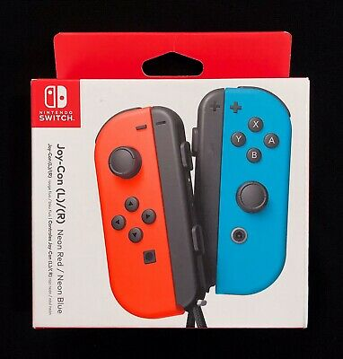New   Official Nintendo Switch Neon Red / Neon Blue Joy-Con Wireless Controllers