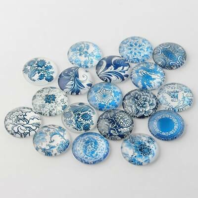 20 x 12mm Blue and White Floral Round Glass Dome Cabochons earring supply, craft