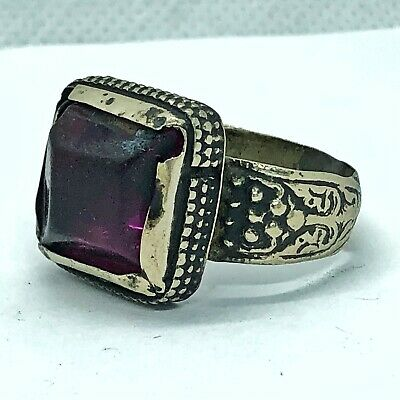 Post Medieval Antique Ring With Purple Color Stone - Old European Jewelry Find