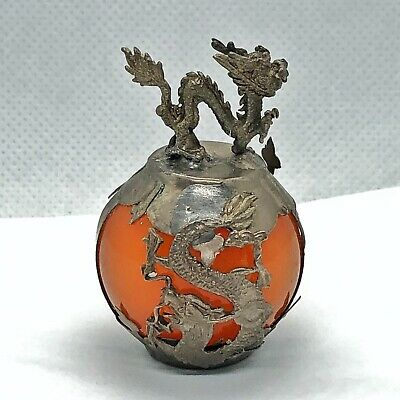 Old Chinese Orange Jade Dragon Ball - Asian Figurine Silver Tone Metal - Zodiac