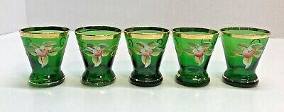 5 Vintage Emerald Green Shot Glasses Cordials Hand Painted Flowers Scrolls Gold