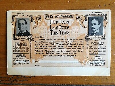 Tully-Wainright Prohibition postcard circa 1906, Westchester Steuben Counties