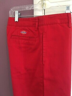 EUC Dickies Red Pants Size 7 Flat Front 4 Pockets (2 Front, 2 Back) Poly Cotton