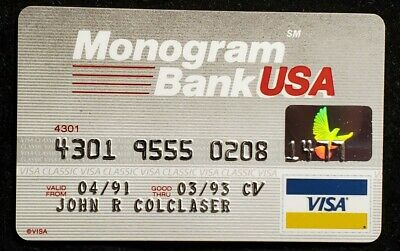 Monogram Bank USA Visa Ohio exp 1993♡Free Shipping♡cc1028♡