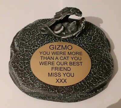 cat Large Pet Memorial/headstone/stone/grave marker/memorial with plaque new 3