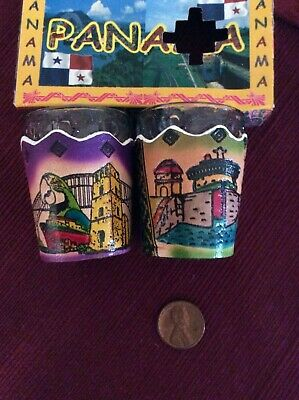 Vintage Panama Shot Glasses With Leather Holders Set of 2 New In Box