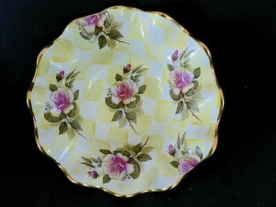 "Mackenzie-Childs #2 8"" Lemon Curd Yellow Check Ruffled Tray Pink Roses"