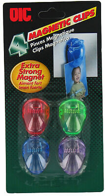 Officemate International 30173 Magnetic Clips 4 Count Assorted Colors (Pk Of 12)