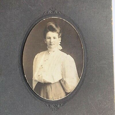 Antique 1906 Victorian American Fashion Gibson Girl Woman Cabinet Card Photo