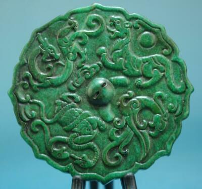 China old natural green jade hand-carved statue mythical creatures pendant/0418E