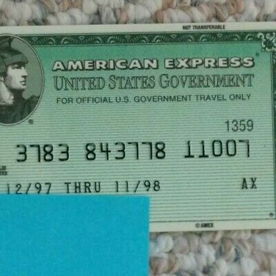 American Express Green Government Travel Credit Card exp 1998 Free Shipping