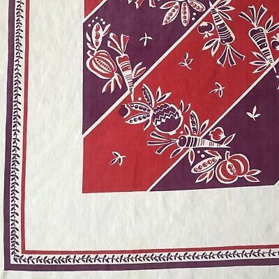 "Vintage Antique Red And Purple Fruit Tablecloth 50""x45"""