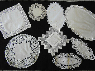 8 x Pretty Vintage Hand Crochet Crocheted Linen and Cotton Doilies