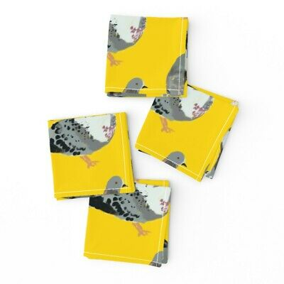 Cocktail Napkins Pigeon Bird Feathers Painting Yellow Cute Nature Set of 4