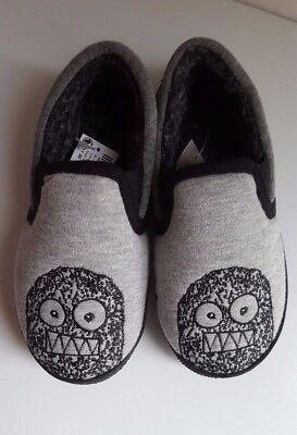 New NEXT Boys Slippers__UK 10 Kids EUR 28__Grey Black Monster__Machine washable