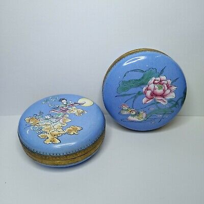 Antique A pair of Chinese  bronze and enamel boxes, 19th-20th century.