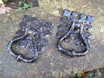 Pair Of Antique Cast Iron Door/Chest Handles/Knockers.heavy Gothic Style.