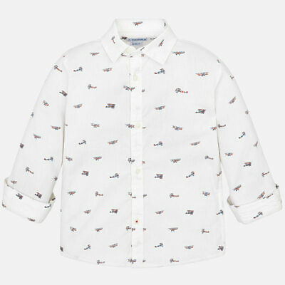 Mayoral Boys White Slim Fit Long Sleeve Patterned Shirt - 7 Years