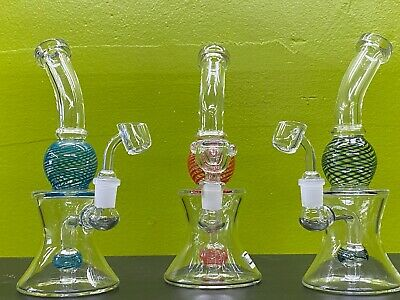 9'' Hookah Premium Glass Waterpipe Bong Thick Water Pipe Bubbler 2 Bowls