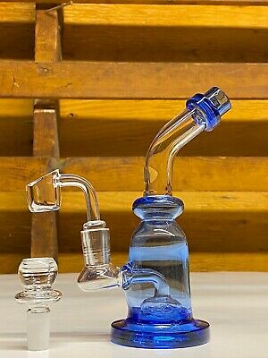 "12"" Hookah Glass Waterpipe Bong W Percolator Water Pipe Two Bowls Blue"